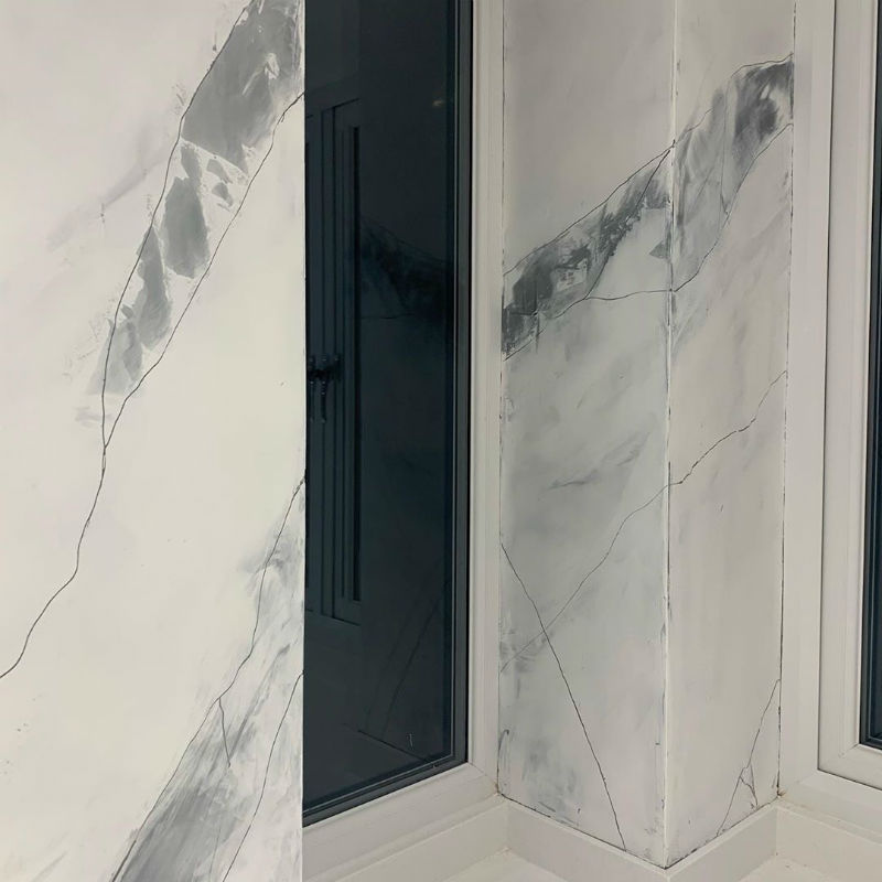 Carrara marble effect using Loggia Plasma 3D - Calce and Calce Venetian Plaster Wakefield